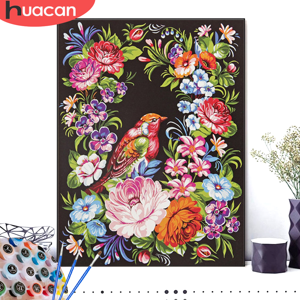 HUACAN Painting By Numbers Flower Bird HandPainted Drawing Canvas Kits DIY Pictures Coloring Number Gift Home Decoration
