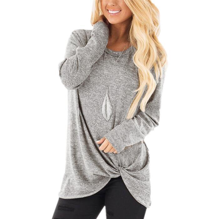 Женская Однотонная футболка с длинным рукавом, Повседневная тонкая осенне-зимняя женская футболка, женская модная Корейская одежда, Черные Серые топы размера плюс - Цвет: Gray