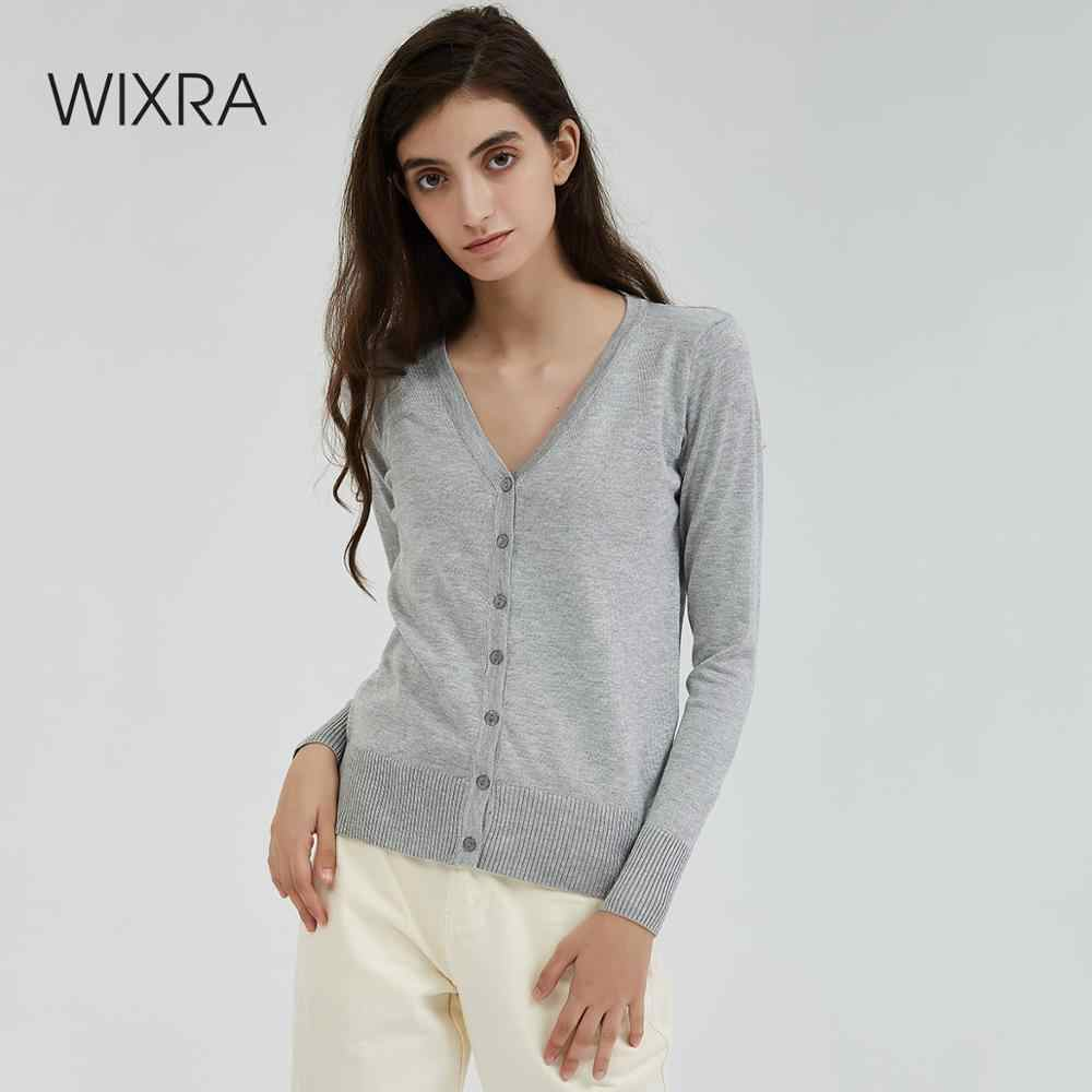 Wixra Women Solid Knitted Cardigan Sweater Autumn Winter Basic Casual V-Neck Long Sleeve Crochet Knit Sweater Coat Female Tops