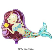 цена на A large balloon mermaid aluminum film baby one hundred days birthday party decoration foil balloons