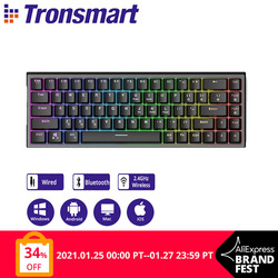 Tronsmart Elite Mechanical Keyboard Blue Switches Gaming Keyboard support Bluetooth/Wired/2.4G Connection, Anti-ghosting for PC
