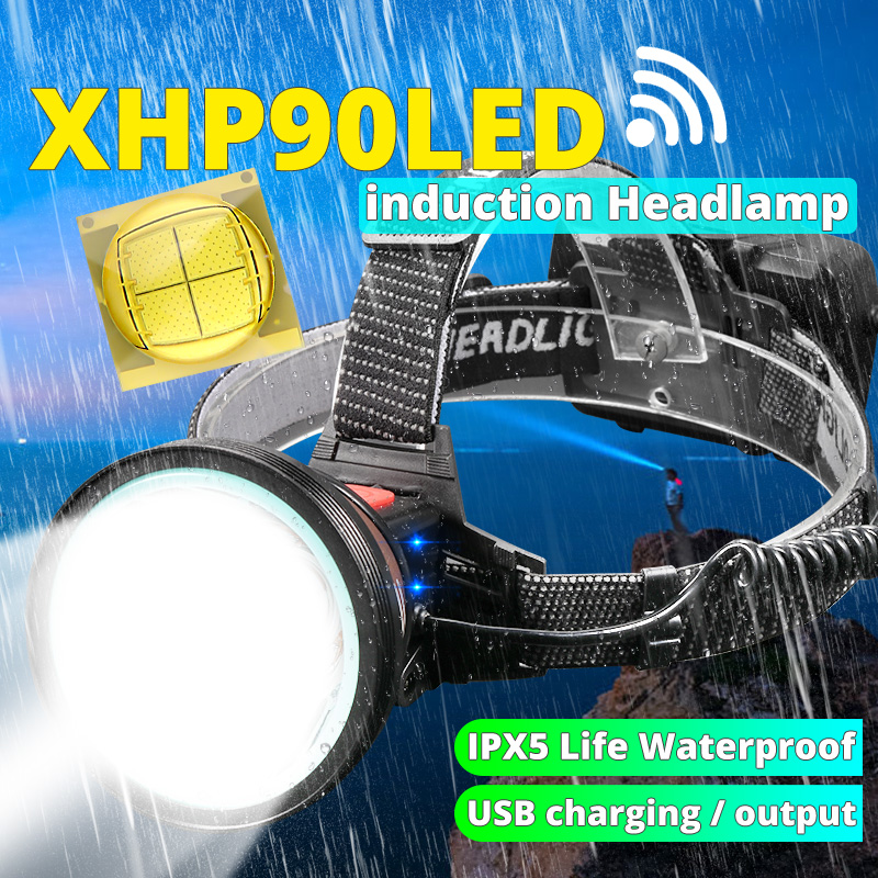 Powerful Led Headlamp XHP90 Super Bright XHP70.2 Headlight 3 Mode Lamp Torch 3*18650 USB Rechargeable Suit For Hunting Cycling