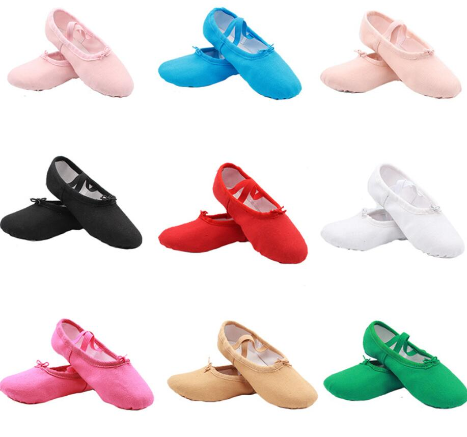 Size22~44 Girls Soft Split Sole Dance Ballet Shoe Cotton Fitness Toddler Canvas Practice Gym Slipper Rhythmic Gymnastics Shoes
