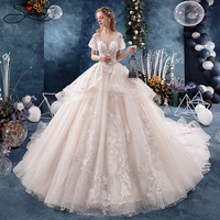 SERMENT Luxury Wedding Dress 2019 New Tieded Design Cathedral 100cmTail Suitable for Spring and Autumn Wedding Custom Large Size