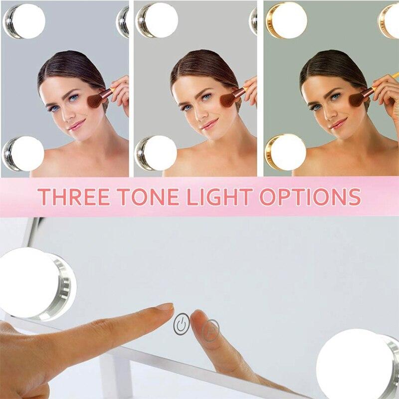 Настенный освещенный светодиодный поворотный зеркало для макияжа с 10X/7X/5X увеличением, Двухстороннее увеличительное/обычное зеркало, штеке... - 4
