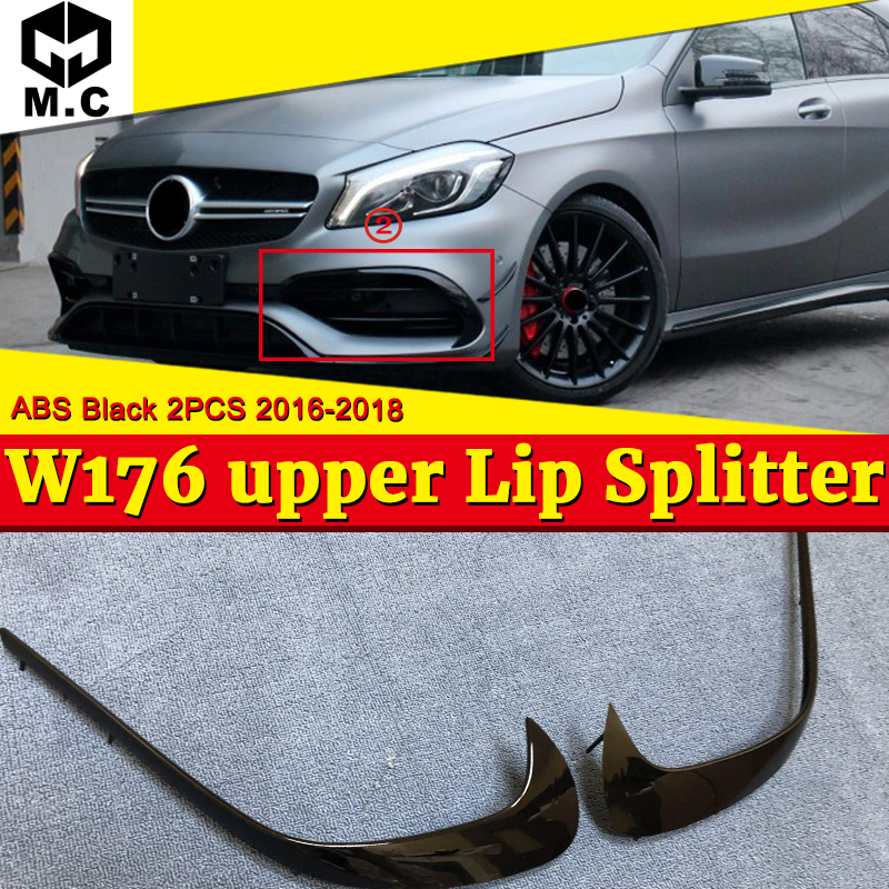 Convient pour mercedes classe A W176 séparateurs de lèvre supérieure avant Spoiler 2 pièces ABS matériau noir A180 A200 A250 A45 look 2016-2018