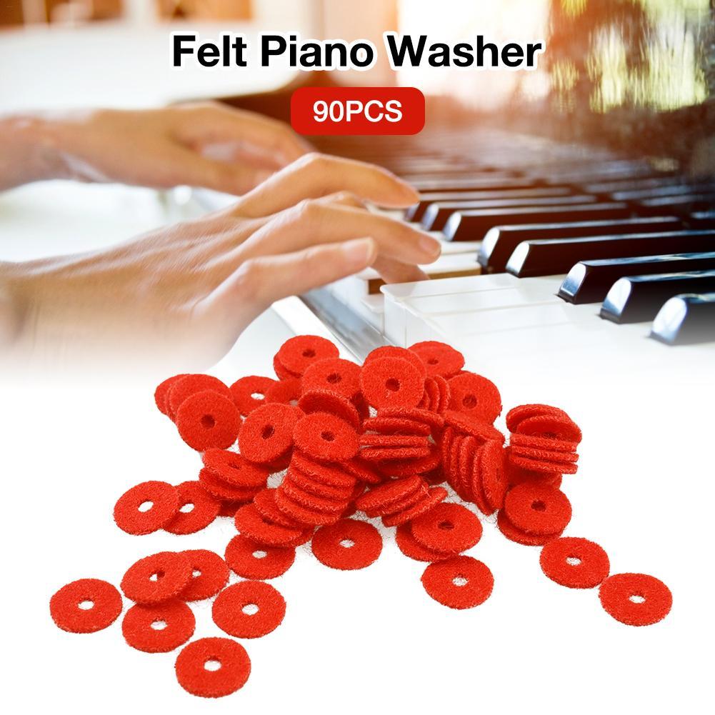 90PCS 1MM/2MM Felt Piano Washers Piano Repair Tool Parts Felt Ring Pad Woollen Washers Piano Tuning Accessories