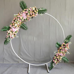 Círculo boda arco Fondo estante de hierro forjado accesorios decorativos DIY redondo fiesta Fondo estante flor con Framer