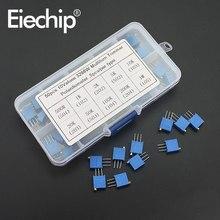 50 pz/lotto resistori Variabili set 3296W serie 500R 1K 2K 5K 10K 20K 50K 100K 200K 1M multi-turn potenziometro 10K