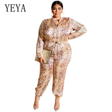YEYA Women Plus Size 4XL 5XL Casual Leopard Pull The Rope Jumpsuits Elegant Long Sleeve Solid Bodycon Playsuits Big