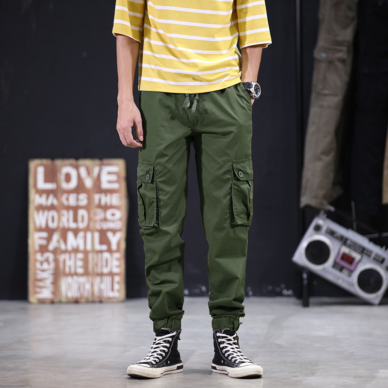 New Style Men Japanese-style Thin Capri Casual Bib Overall Teenager Camouflage Beam Leg Harem 9 Pants 0472
