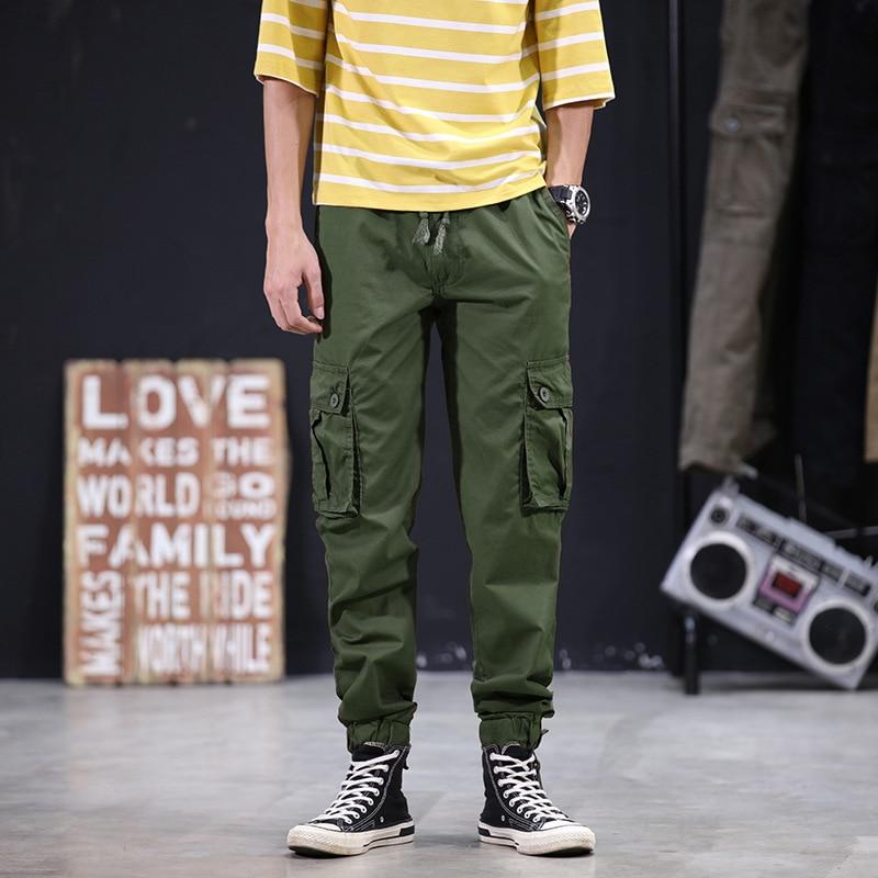 New Style Men Japanese-style Thin Capri Casual Bib Overall Teenager Camouflage Beam Leg Harem 9 Pants 0472