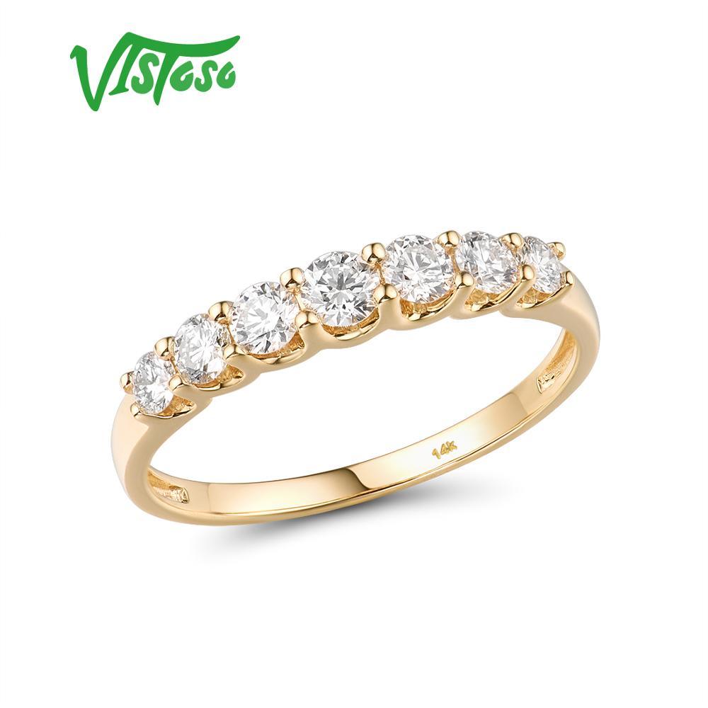 VISTOSO pur 14K 585 bague en or jaune pour les femmes véritable étincelant diamant bague promesse bagues de fiançailles anniversaire beaux bijoux