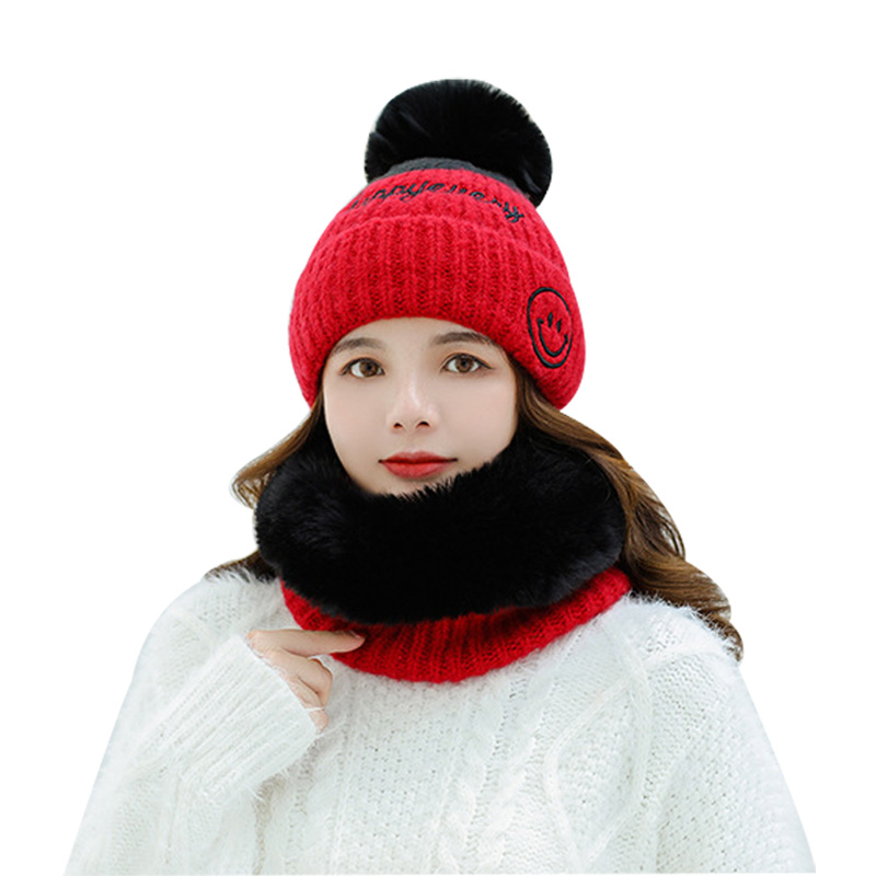 Autumn Winter Scarves And Hats 2/set Fashion Faux Fur Women's O-Neck Collar Wrap Scarf Ski Warm Cap Plus Velvet Female Beanies