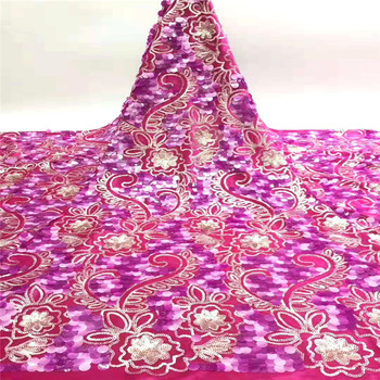 XIUYSAI pink lace fabric african sequin lace fabric 2020 high quality lace tissu dentelle africain bridal fabric 5yard/lot SL40