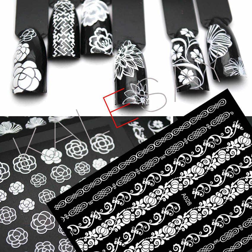Lucu Bunga Besar Nail Art Sticker Manikur Desain Hitam Stiker Mewah Diri Perekat Putih Decals Nail Art untuk Dekorasi