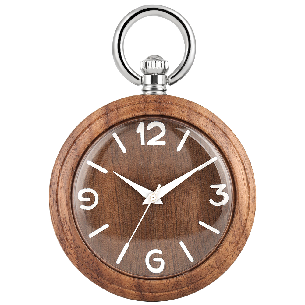 Concise Natural Walnut Case Pocket Watches For Men Large Dial Silver Rough Chain Pendant Watch Necklace Women Relogio De Bolso