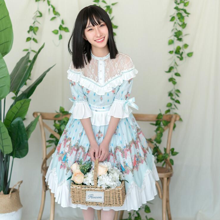 Princess tea party sweet lolita dress vintage lace bowknot high collar ruffle sleeve cute printing victorian dress kawaii girl