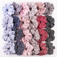 Mujeres Vintage pelo Scrunchie Dot Plaid pelo cuerda niñas banda elástica coleta titular rayas banda de goma accesorios para el cabello