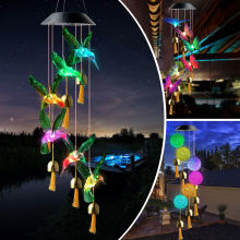Solar Light Wind Chimes Lights Waterproof Solar Lamp Crystal Ball Butterfly Hanging Windchime Night Light Outdoor Garden Decor