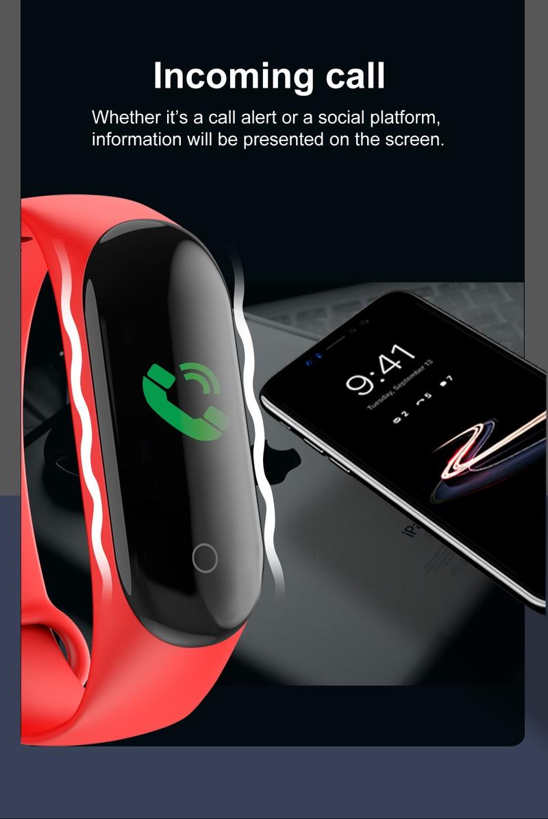 2020 Sport Running Pedometer M4 Smart Wristband Heart Rate Waterproof Touch Screen Bluetooth Fitness Tracker Pedometer 3
