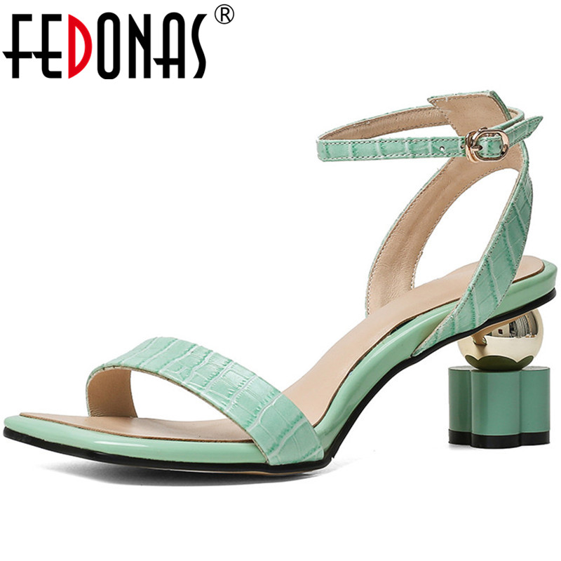 FEDONAS Metal Buckle Genuine Eather Women Sandals Lace Up Cool High Heels Pumps 2020 Summer New Party Casual Shoes Woman Heels