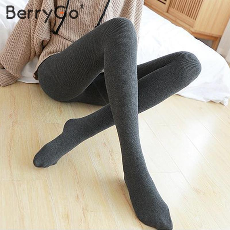 BerryGo Winter Slim Warm Leggings Women Casual Knitted Fit Bodycon Female Sweater Leggings Casual Ladies Autumn Pantyhoses