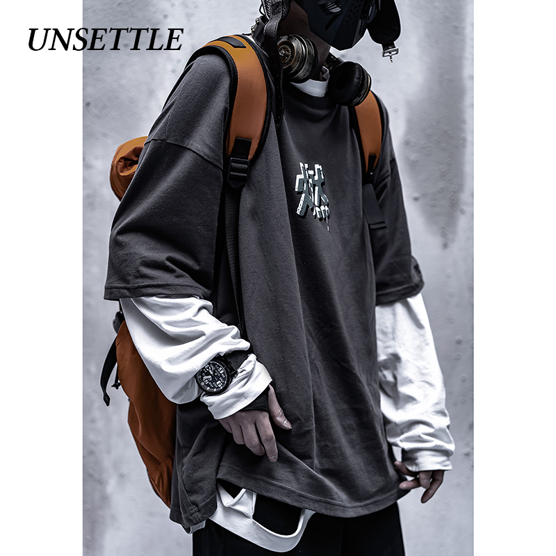 UNSETTLE 2020SS Chinese Character T-shirts Summer Men/Women Hip Hop Print Fashion Funny Streetwear T Shirt Man Short Sleeve Tee