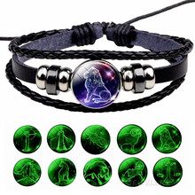 Glowing Constellation Bracelet Punk Luminous Jewelry Black Leather Woven Bracelet Glow In The Dark Zodiac Sign Luminous Bracelet(China)