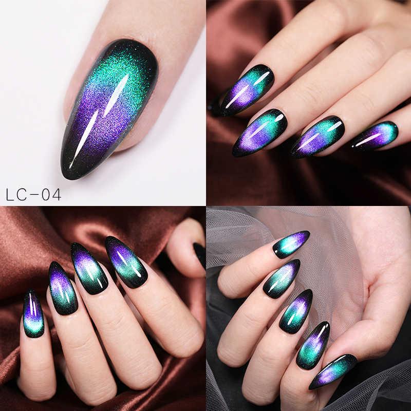 Lilycute 5 Ml 9D Magnetic Gel Nail Polish Chameleon Cat Eye Magnetic Uv Gel Polandia Langit Berbintang Rendam Off UV magnetic Gel Nail Art