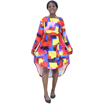 Long Sleeve colour Doodling Half Skirt African Dresses For Women Dashiki Print Round neck