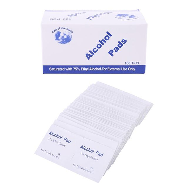 100Pcs/Box Alcohol Wipe Clean Pad Medical Cotton Swab Sachet Antibacterial Tool Cleanser Cotton Buds Tip For Medical Sticks
