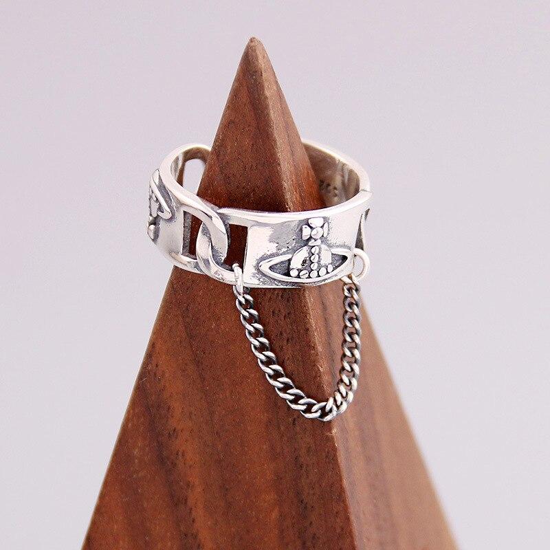 Новинка 2021, кольцо в ретро стиле с цепочкой из Сатурна, кольца в виде планеты, серебряный цвет, плетеная цепочка, индивидуальное регулируемо...