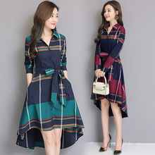 Spring and summer new style Plaid dress Irregular long Lace-up striped long-sleeved