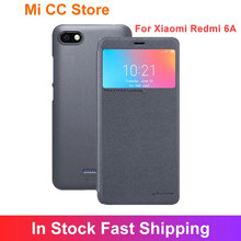 Nillkin-funda trasera de cuero PU para Xiaomi Redmi 6A, funda protectora de teléfono