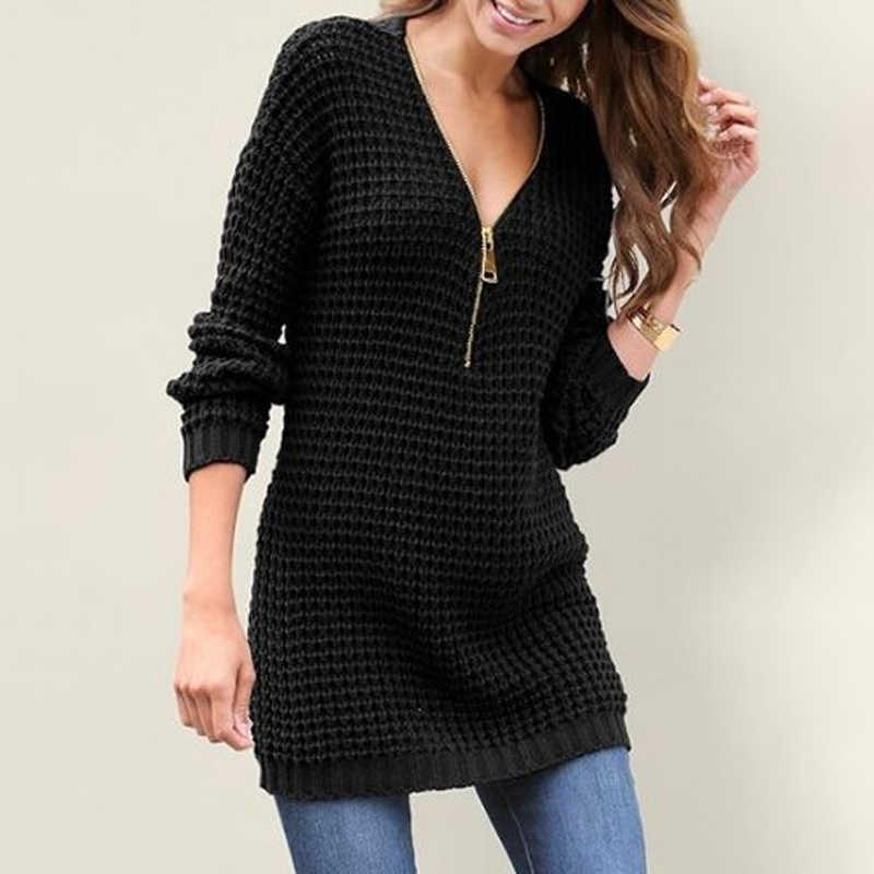 Nuevo vestido tejido Bodycon con cremallera cálido invierno suéter cuello en V ajustado estampado para mujer