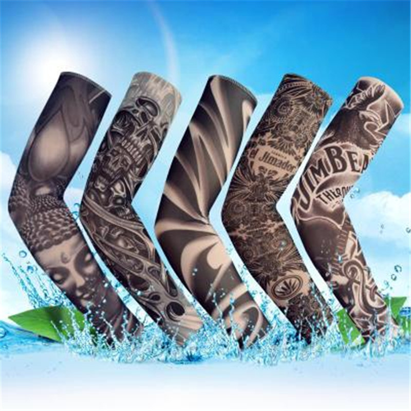 Skin UV Protective Nylon Stretchy Fake Temporary Tattoo Sleeves Arm Stockings Design Body Cool Men Unisex Fashion Arm Warmer