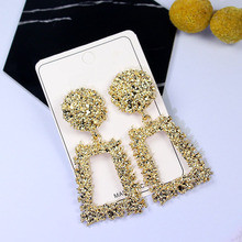цена на Metal Earrings simple geometric relief earrings for women S925 silver retro fashion  earrings for women