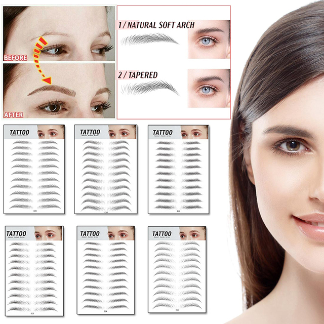 new 4D Hair-like Eyebrow Tattoo Sticker Bionic Tattoo Semi-Permanent Water Transfer Embroidery Eyebrow Patches Makeup Supplies
