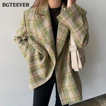 BGTEEVER Vintage Loose Women Plaid Blazer 2020 Autumn Chic Double Breasted Female Long Sleeve Suit Jackets Stylish Ladies Blazer