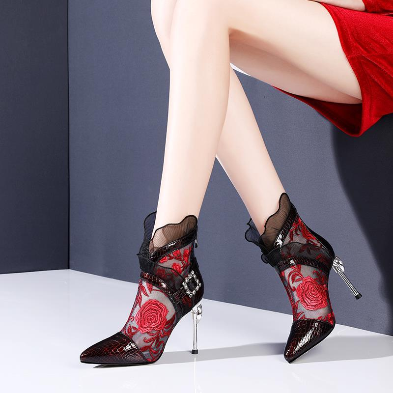 2020 HIgh Heeled Sandal Boots Women's Shoes Woman Sexy Lace High Heels Pointed toe Thin Heel Rhinestone Black Red
