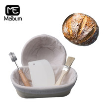 Meibum 5 pçs pão fermentação rattan cesta baguette baneton brotform prova cestas massa faca escova raspador