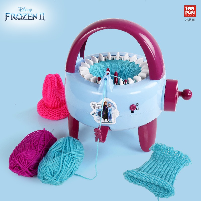 Disney Frozen 2 Plastic Needle Sewing Tools DIY Hand Knitting Machine Weaving Loom For Scarf Hat Kids Children Pretend Play Toys