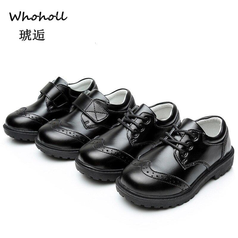 Whoholl кожаные сандалии для мальчиков в британском стиле; школьная обувь для детей; обувь для свадебной вечеринки; повседневные детские мокасины белого и черного цвета