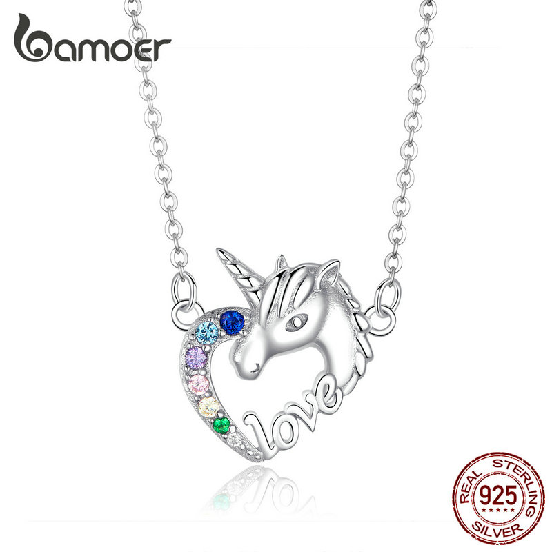 Bamoer suerte Licorne corazón corto Collar para las mujeres corto gargantilla de Plata de Ley 925 chica Collier joyería de moda SCN348