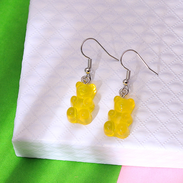 1 Pair Creative Cute Mini Gummy Bear Earrings Minimalism Cartoon Design Female Ear Hooks Danglers Jewelry Gift 4