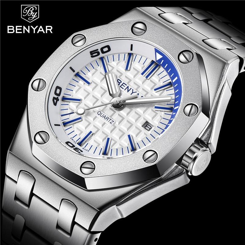 New BENYAR Fashion Men Watches Male 2019 Top Brand Luxury Quartz Watch Men Casual Waterproof Sports WristWatch Relogio Masculino