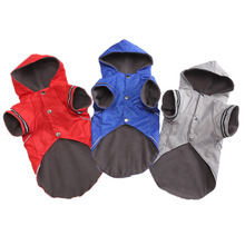 Pet Dog Rain Reflective Strip Raincoat Winter Plus Velvet Warm Clothes Hooded Two Feet Jacket Coat