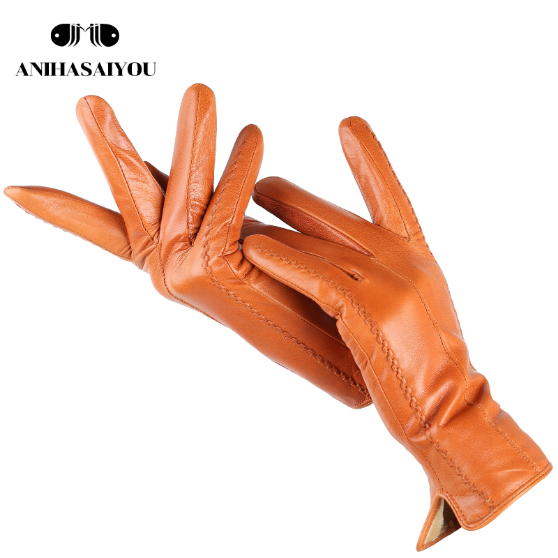 Simple Texture Women's Leather Gloves,Warm Sheepskin Women's Gloves,Thin Drive Women's Winter Gloves-2227