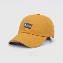 Baseball-Cap Whale-Pattern Trucker-Caps Washed Embroidered Peaked Bone Cotton Women